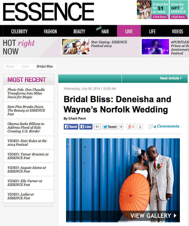 Essence Magazine | Norfolk Wedding Photographer | Deneisha and Wayne's Half Moone Wedding Featured!!