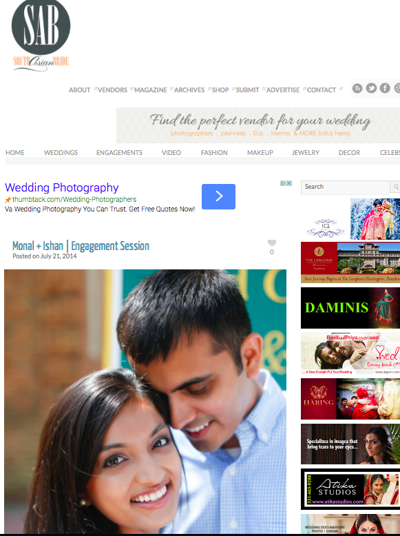 Virginia Beach Indian Wedding Photographer   Monal and Ishan's Engagement Session Featured on South Asian Bride!