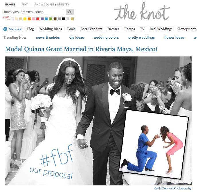 Supermodel Quiana and Jame's Destination Wedding Featured on TheKnot!