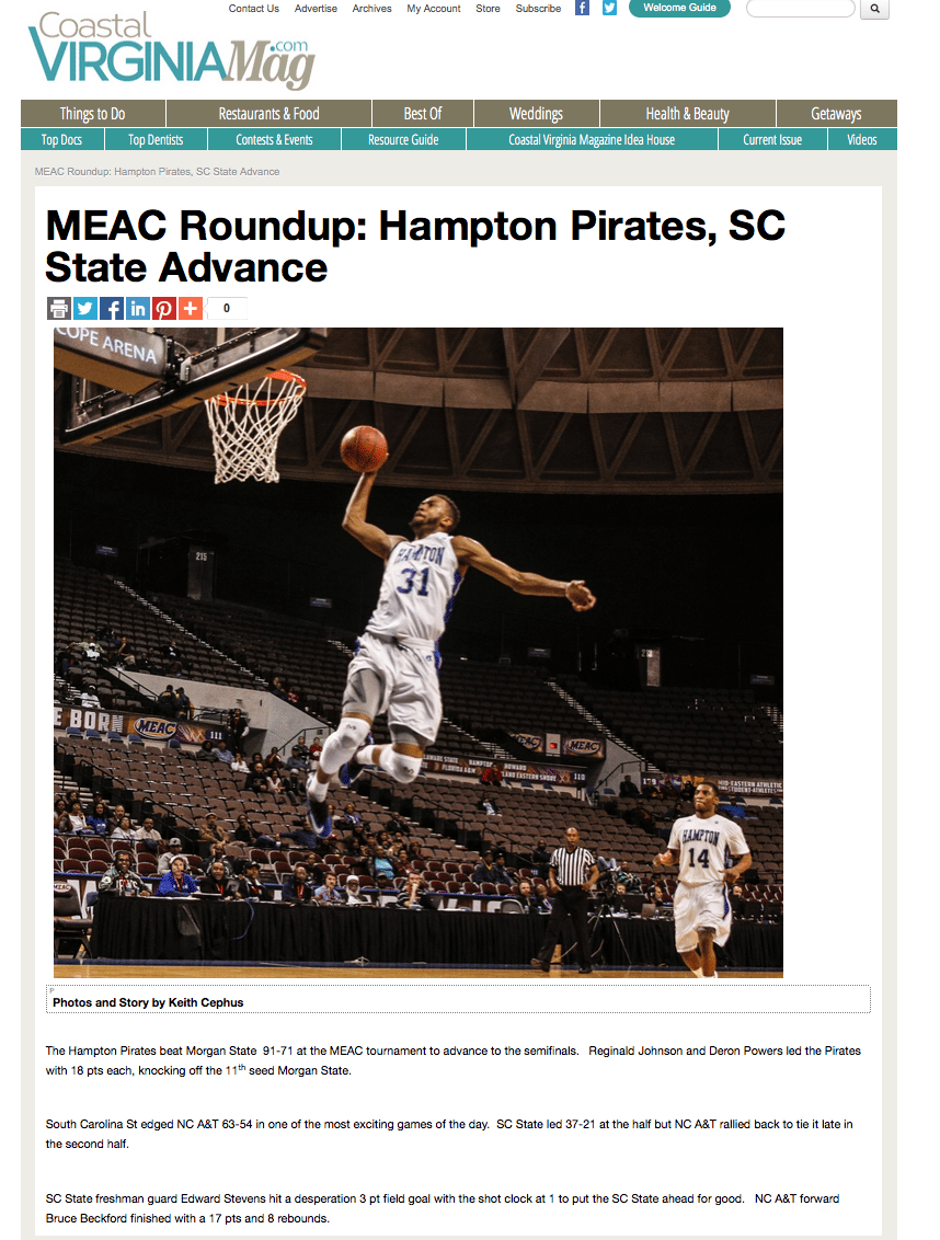 Sports Wrap by Coastal Virginia Sports Editor Keith Cephus |  Hampton Pirates, SC State Advance to MEAC Semifinals