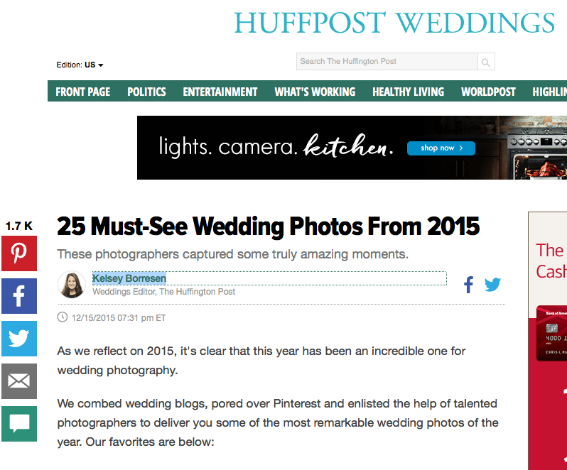 """Keith Cephus' Photo Selected """"Top Wedding Photo"""" by the Huffington Post for 2015!"""
