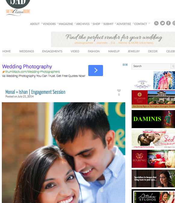 Virginia Beach Indian Wedding Photographer | Monal and Ishan's Engagement Session Featured on South Asian Bride!