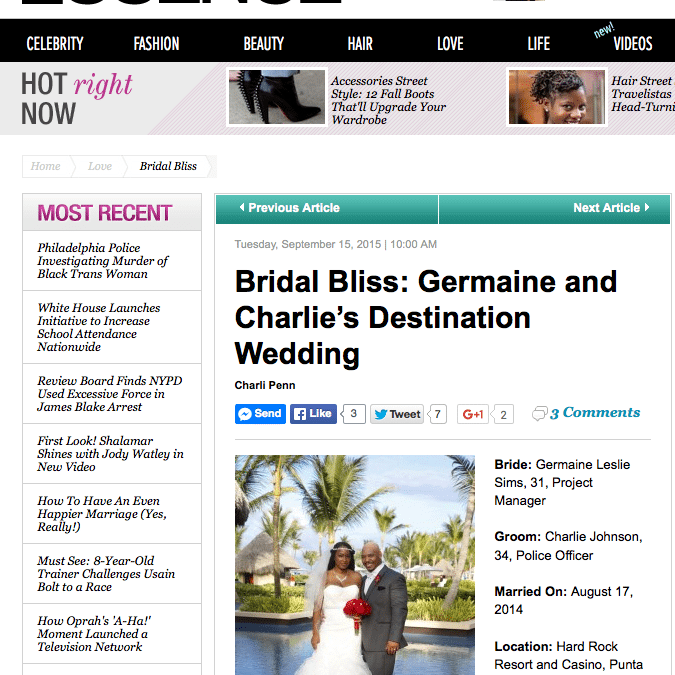 Essence.com Wedding Photographer | Hard Rock Hotel Destination Wedding Photographer | Germaine and Charlie's Wedding Featured in Essence.com!!